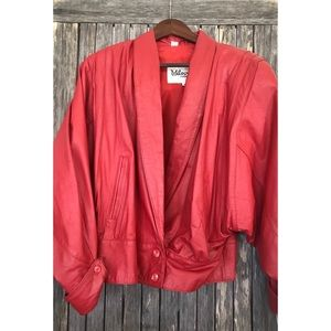 VINTAGE Wilson's Red Leather Puffer Jacket